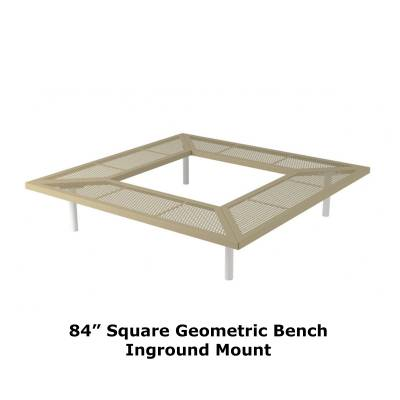 "72"" & 96"" Square Geometric Benches, Surface and Inground Mount - Image 5"