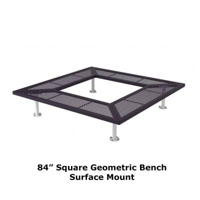 "72"" & 96"" Square Geometric Benches, Surface and Inground Mount - Image 6"