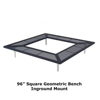 "72"" & 96"" Square Geometric Benches, Surface and Inground Mount - Image 7"