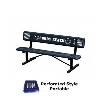 Park Benches - Thermoplastic Coated - 6' and 8' Perforated Buddy Bench - Portable, Surface and Inground Mount