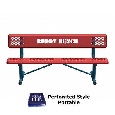 Park Benches - Thermoplastic Coated - 6' Perforated Buddy Bench - Portable, Surface and Inground Mount