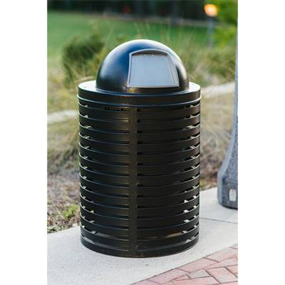 Trash Disposal - Outdoor Trash Receptacles - 32 Gallon Horizontal Strap Trash Receptacle