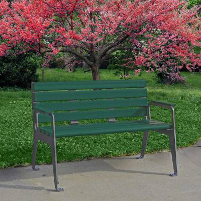 4' and 6' Plaza Recycled Plastic Bench - Portable/Surface Mount  - Image 2