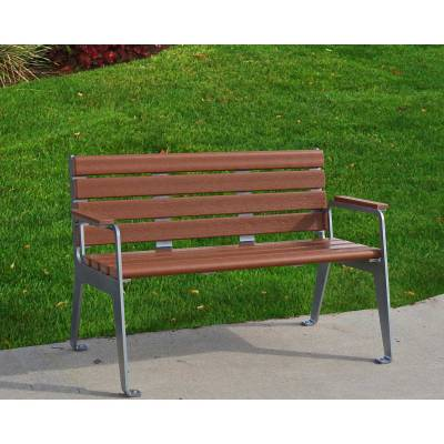 4' and 6' Plaza Recycled Plastic Bench - Portable/Surface Mount  - Image 3