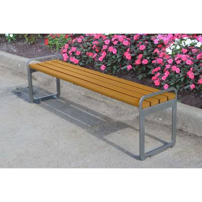 Park Benches - 6' Plaza Recycled Plastic Backless Bench - Portable/Surface Mount - Quick Ship