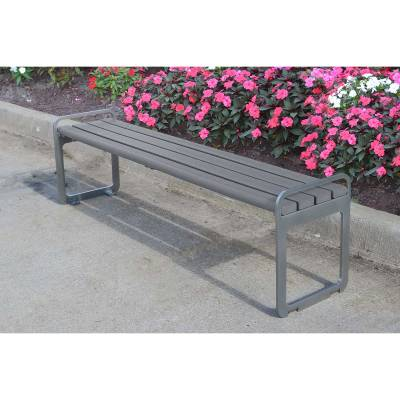 6' Plaza Recycled Plastic Backless Bench - Portable/Surface Mount  - Image 2