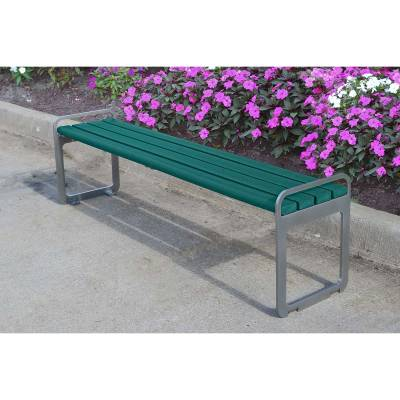 6' Plaza Recycled Plastic Backless Bench - Portable/Surface Mount  - Image 3