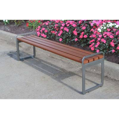 6' Plaza Recycled Plastic Backless Bench - Portable/Surface Mount  - Image 4