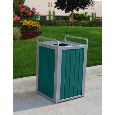 Trash Disposal - Recycled Plastic Trash Receptacles - Quick Ship - 32 Gallon Plaza Recycled Plastic Trash Receptacle - Quick Ship