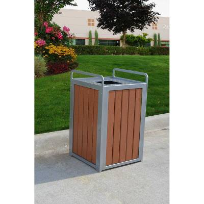 32 Gallon Plaza Recycled Plastic Trash Receptacle - Quick Ship - Image 2