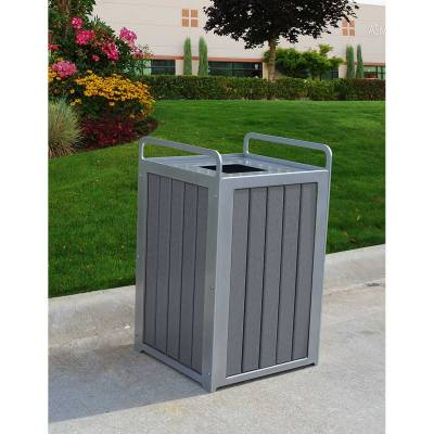 32 Gallon Plaza Recycled Plastic Trash Receptacle - Quick Ship - Image 3