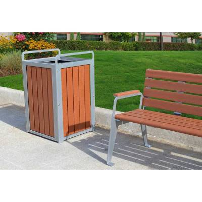 32 Gallon Plaza Recycled Plastic Trash Receptacle - Quick Ship - Image 5