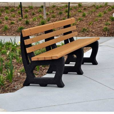 Park Benches - Recycled Plastic - Quick Ship - 4' and 6' Brooklyn Recycled Plastic Bench - Portable - Quick Ship