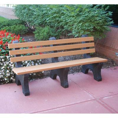 Park Benches - Recycled Plastic - Quick Ship - 4', 6' and 8' Comfort Park Avenue Recycled Plastic Bench - Portable - Quick Ship