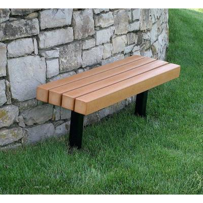 4', 6' and 8' Trailside Recycled Plastic Bench - Surface and Inground Mount - Quick Ship - Image 1