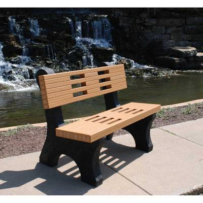 Park Benches - Recycled Plastic - Quick Ship - 4', 6' and 8' Ariel Recycled Plastic Bench - Portable - Quick Ship