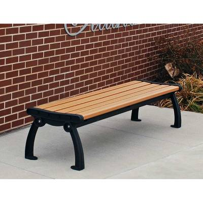 Park Benches - Recycled Plastic - Quick Ship - 4', 5', 6' and 8' Heritage Backless Recycled Plastic Bench - Portable/Surface Mount - Quick Ship