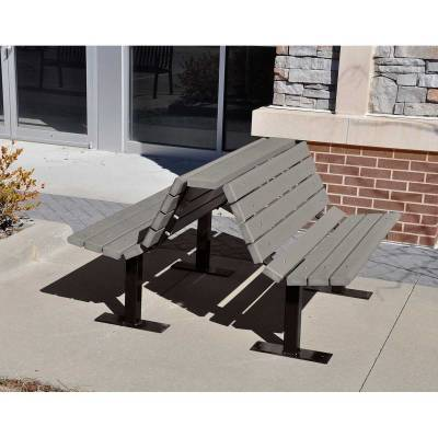 4', 6' and 8' Douglas Recycled Plastic Double Bench - Portable/Surface Mount - Quick Ship - Image 2