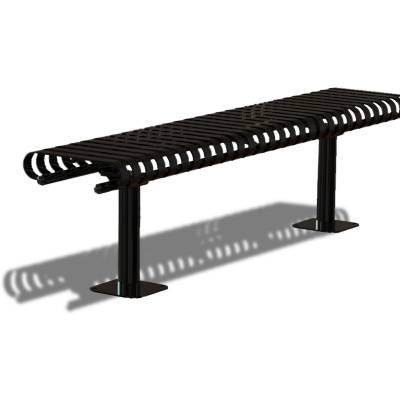 Park Benches - Coated Metal - 6' Kensington Backless Bench - Inground and Surface Mount