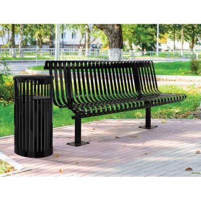 Park Benches - Coated Metal - 6' Kensington Bench - Inground and Surface Mount