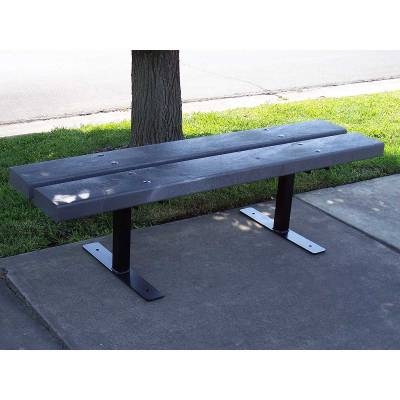 4', 5', 6' and 8' Deco Recycled Plastic Bench - Portable, Surface and Inground Mount - Image 2