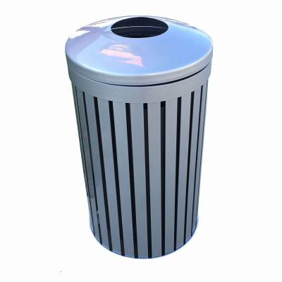 Trash Disposal - Outdoor Trash Receptacles - 24 Gallon Iron Valley Trash Receptacle