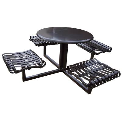 "Picnic Tables - Patio Tables and Seating - 40"" Round Iron Valley Picnic Table - Portable"