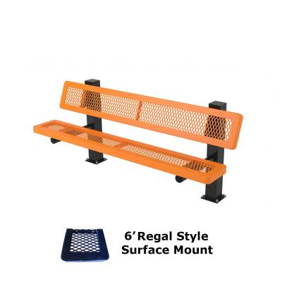 Park Benches - Thermoplastic Coated - 6' and 8' Regal Mounted Bench - Surface and Inground Mount
