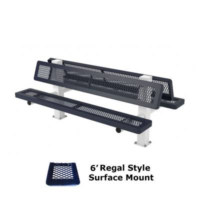 Park Benches - Thermoplastic Coated - 6' and 8' Regal Double Mounted Bench - Surface and Inground Mount