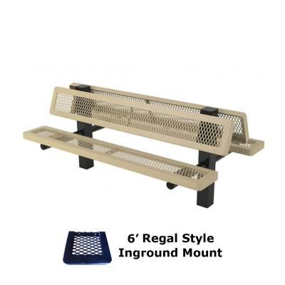 6' and 8' Regal Double Mounted Bench - Surface and Inground Mount - Image 2
