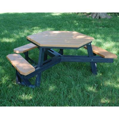 Picnic Tables - ADA Accessible - Hex Recycled Plastic Picnic Table with (3) Attached Seats, ADA - Portable - Quick Ship