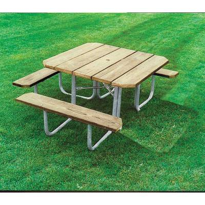 """48"""" Square ADA Picnic Table with (3) Seats - Portable"""
