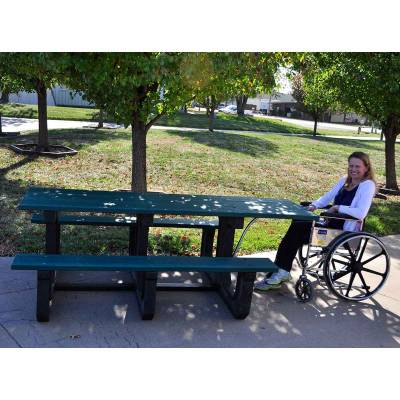 Picnic Tables - ADA Accessible - 8' Recycled Plastic Park Place Picnic Table with (2) Attached 6' Seats - ADA - Portable - Quick Ship