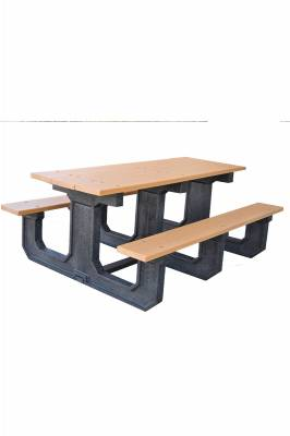 6' and 8' Recycled Plastic Park Place Picnic Table, Portable - Quick Ship - Image 4
