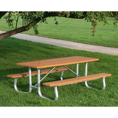 6' and 8' Recycled Plastic Picnic Table with Galvanized Frame - Portable/Surface Mount  - Image 2