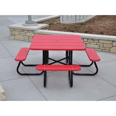 """48"""" Square Recycled Plastic Table, Portable  - Quick Ship - Image 2"""