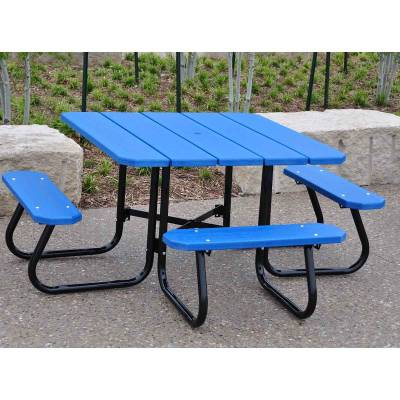 """48"""" Square Recycled Plastic Table, Portable  - Quick Ship - Image 3"""