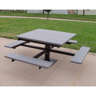4' Recycled Plastic T Frame Picnic Table, Surface Mount  - Image 2