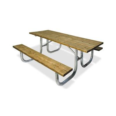 Picnic Tables - Natural Wood - 8' Heavy-Duty Wood Picnic Table – Portable