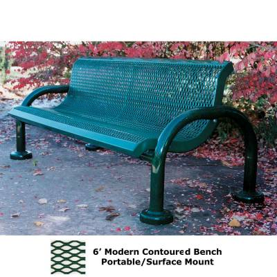 Park Benches - Thermoplastic Coated - 4' and 6' Modern Contoured Bench - Portable/Surface and Inground Mount