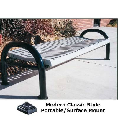 Park Benches - 4' and 6' Modern Classic Backless Bench - Portable/Surface and Inground Mount