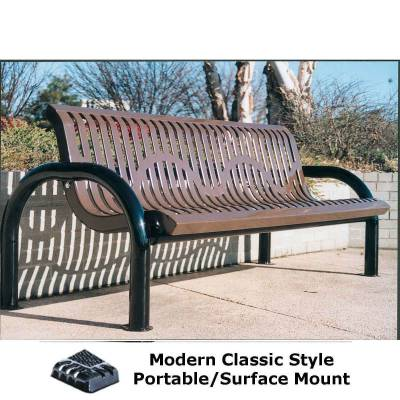 Park Benches - 4' and 6' Modern Classic Bench - Portable/Surface and Inground Mount
