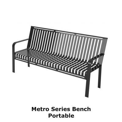 Park Benches - Thermoplastic Coated - 4' and 6' Metro Style Bench - Portable/Surface Mount