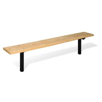 Park Benches - Natural Wood - 6' Park Wood Backless Bench - Portable, Surface and Inground Mount