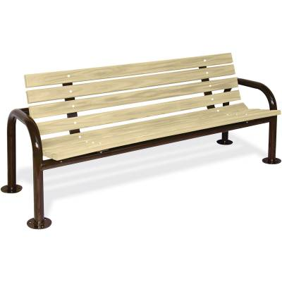 Park Benches - Natural Wood - 6' Contour Park Wood Bench, Double Post - Portable, Surface and Inground Mount