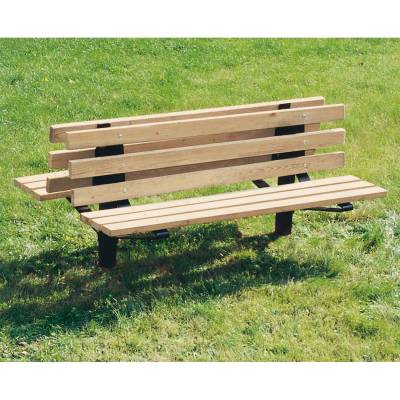 Park Benches - Natural Wood - 6' Pedestal Style Double Wood Bench - Surface and Inground Mount