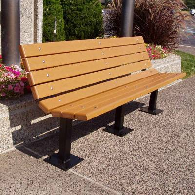 Park Benches - Recycled Plastic - 4', 6' and 8' Contour Recycled Plastic Bench - Surface and Inground Mount