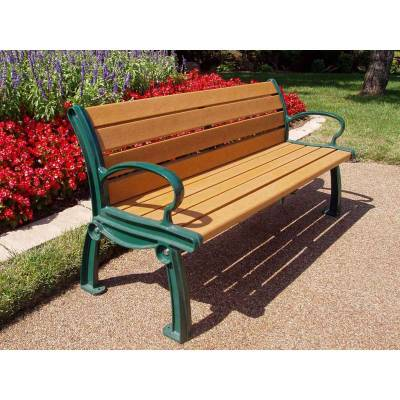 4', 5', 6' and 8' Heritage Recycled Plastic Bench - Portable/Surface Mount - Image 2
