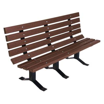 Park Benches - Natural Wood - 6' Traditional Park Wood Bench - Surface and Inground Mount