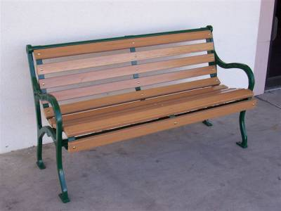 4', 5, 6' and 8' Iron Valley Slatted Bench - Portable/Surface Mount. - Image 3